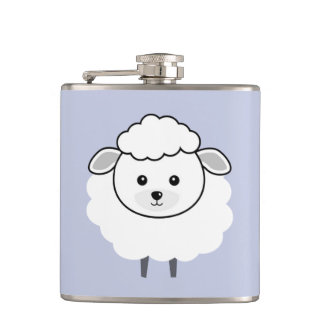 Cute Wooly Lamb Face Hip Flask