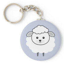 Cute Wooly Lamb Face Keychain