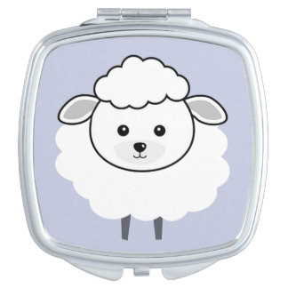 Cute Wooly Lamb Face Compact Mirrors