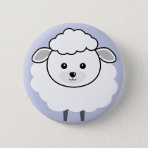 Cute Wooly Lamb Face Pinback Button