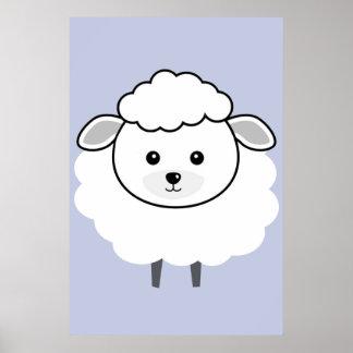 Cute Wooly Lamb Face Poster