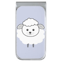 Cute Wooly Lamb Face Silver Finish Money Clip