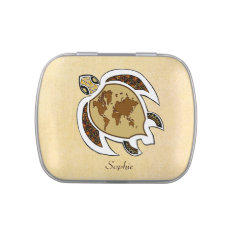 Cute World Map Turtle On A Candy Tin at Zazzle
