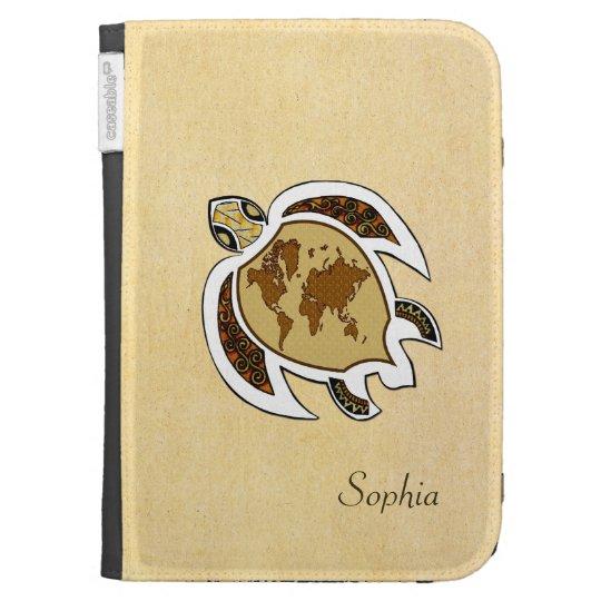 Cute World Map Turtle On Amazon Kindle Case
