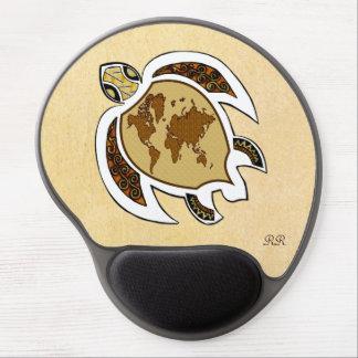 Cute World Map Turtle On Gel Mousepad