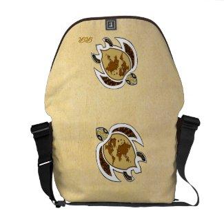 Cute World Map Turtle On Rickshaw Messenger Bag