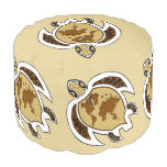 Cute World Turtle Map on Shell Round Pouf