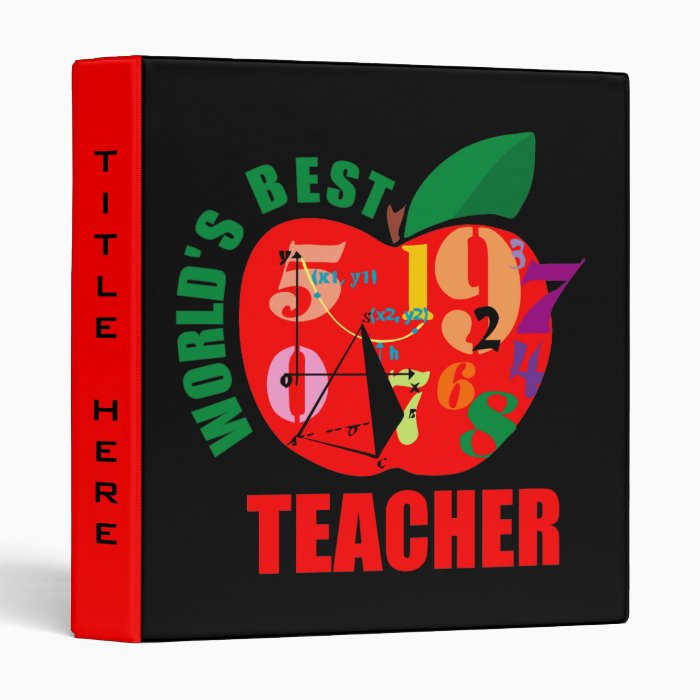 Cute World's Best Teacher 3 Ring Binder