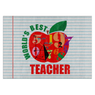 Cute World's Best Teacher Apple Theme Math Cutting Board