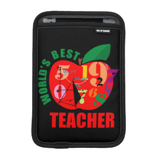 Cute World's Best Teacher Apple Theme Math iPad Mini Sleeve