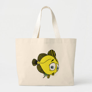 CUTE WORRIED YELLOW CARTOON FISH SEALIFE GRAPHICS LARGE TOTE BAG