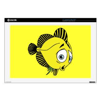 "CUTE WORRIED YELLOW CARTOON FISH SEALIFE GRAPHICS 17"" LAPTOP SKINS"