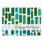 Cute Wrapped Presents Happy Holidays - Green Blue Cards