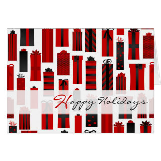 Cute Wrapped Presents Happy Holidays - Red Black Greeting Card