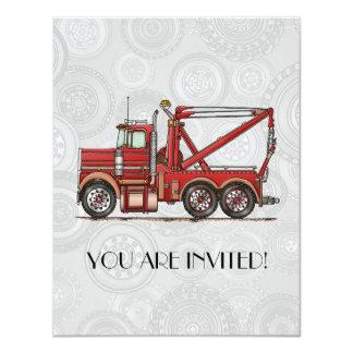 Cute Wrecker Truck 4.25x5.5 Paper Invitation Card