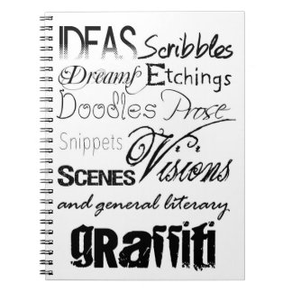 Cute Writing Typography Graffiti Scribbles Spiral Notebook