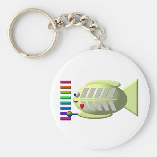 Cute X-ray fish playing the xylophone Basic Round Button Keychain