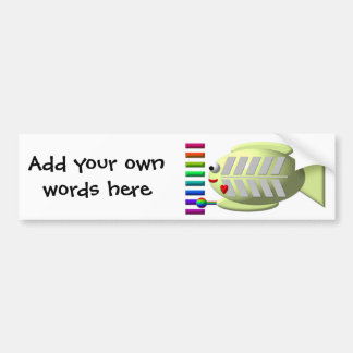 Cute X-ray fish playing the xylophone Bumper Sticker