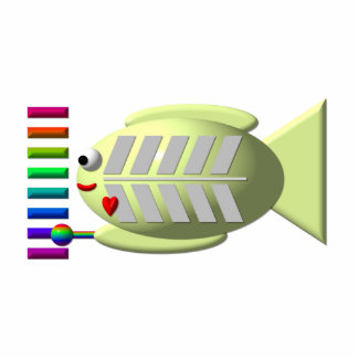 Cute X-ray fish playing the xylophone Cutout