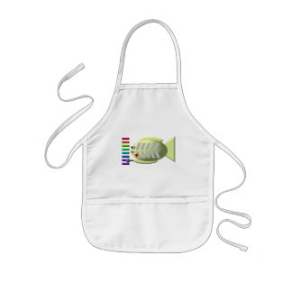 Cute X-ray fish playing the xylophone Kids' Apron