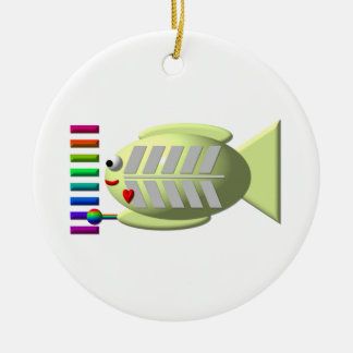 Cute X-ray fish playing the xylophone Christmas Tree Ornament