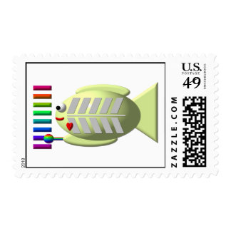 Cute X-ray fish playing the xylophone Postage