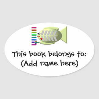 Cute X-ray fish playing the xylophone Oval Sticker