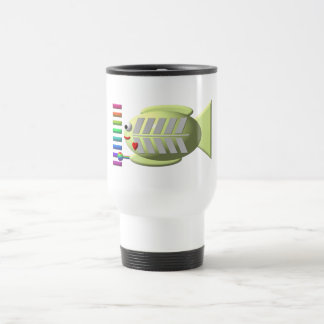 Cute X-ray fish playing the xylophone Travel Mug