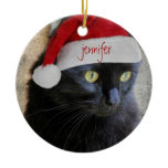 Cute Xmas Cat, red back, personalized name/year Ceramic Ornament
