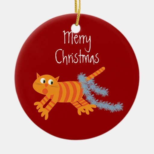 Cute Xmas Cat Running Away From Tinsel On His Tail Christmas Ornament