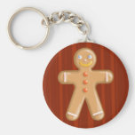 Cute xmas gingerbread man cookie basic round button keychain