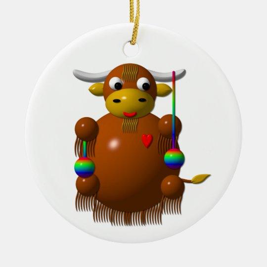 Cute yak with yo-yos ceramic ornament