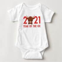 Cute Year of the Ox 2021 Chinese New Year Baby Bodysuit