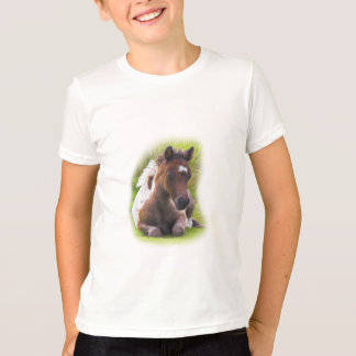 Cute Yearling Foal kids ringer tshirt