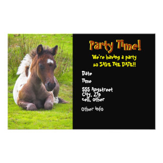 """Cute Yearling Foal party invitations 5.5"""" X 8.5"""" Flyer"""