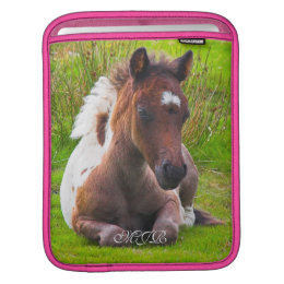Cute Yearling Pony Foal with pink trim iPad Sleeve