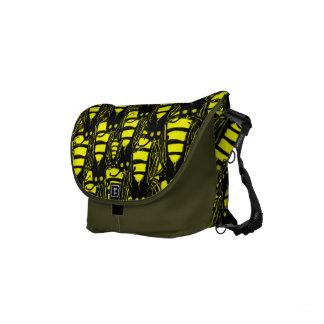Cute Yellow and Black Piles of Honeybees Pattern Small Messenger Bag