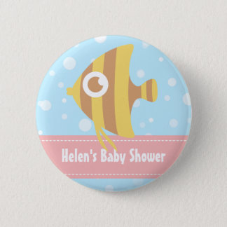 Cute Yellow and Brown Stripes Fish Kids Button