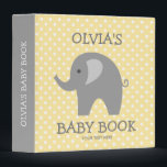 """Cute yellow and grey elephant new baby binder book<br><div class=""""desc"""">Cute yellow and grey elephant new baby binder book. Personalized yellow and gray baby book with zoo animal and custom text. Cute white polka dots pattern design for girl or boy. Customizable background color ie pastel pink, soft yellow, grey, light blue, purple etc. Adorable baby illustration for photo album of...</div>"""
