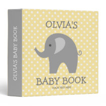 Cute yellow and grey elephant new baby binder book