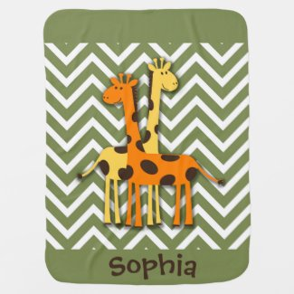 Cute Yellow and Orange Giraffe Baby Blanket