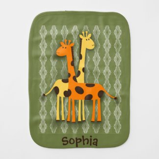 Cute Yellow and Orange Giraffe Green Burp Cloth