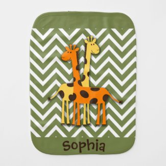 Cute Yellow and Orange Giraffes Burp Cloth