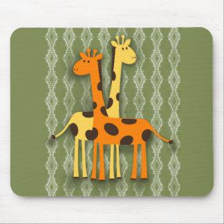 Cute Yellow and Orange Giraffes on Green Mousepad