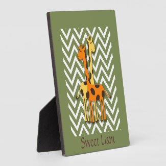 Cute Yellow and Orange Giraffes on Green Nursery Plaques