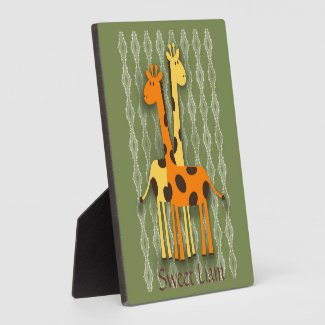 Cute Yellow and Orange Giraffes on Green Nursery Plaque
