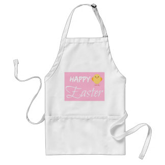 Cute Yellow and Pink Happy Easter Chick Adult Apron