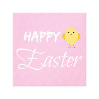 Cute Yellow and Pink Happy Easter Chick Canvas Print
