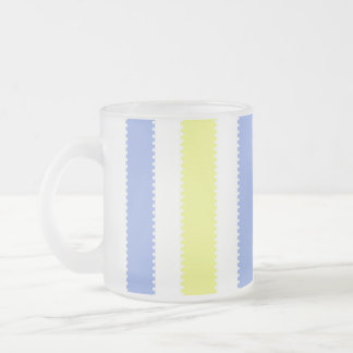 Cute Yellow and Purple Dots and Stripes Frosted Glass Coffee Mug
