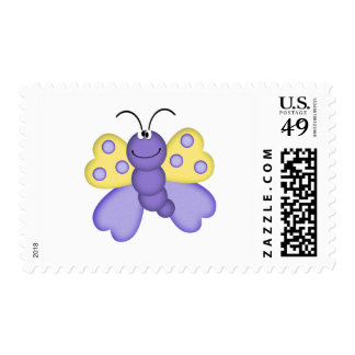 cute yellow and purple happy butterfly cartoon postage stamp